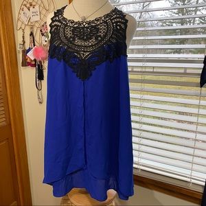 NWT city chic royal lace flyaway tank blouse Med
